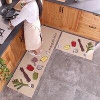50x80CM+50x160CM Long Kitchen Mats Anti Skid Suction Oil Polyester Cotton Kitchen Rug Floor Mat 2Pcs/Set