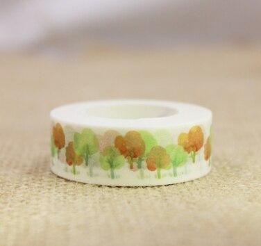 AC1-15mm*10m green orange spring autumn tree diy washi decorative adhesive tape(1piece)