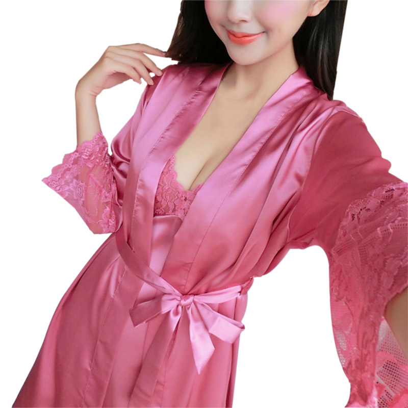 ac15fabad 2 Pcs Mulheres Sexy Lace Robe Set Sono Desgaste Rayon Pijama Com Decote Em  V Cardigans