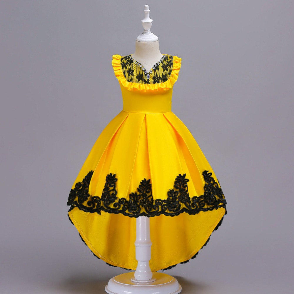 Fashion Flower Girl Dress Yellow Sleeveles Lace Dress Teen Girls