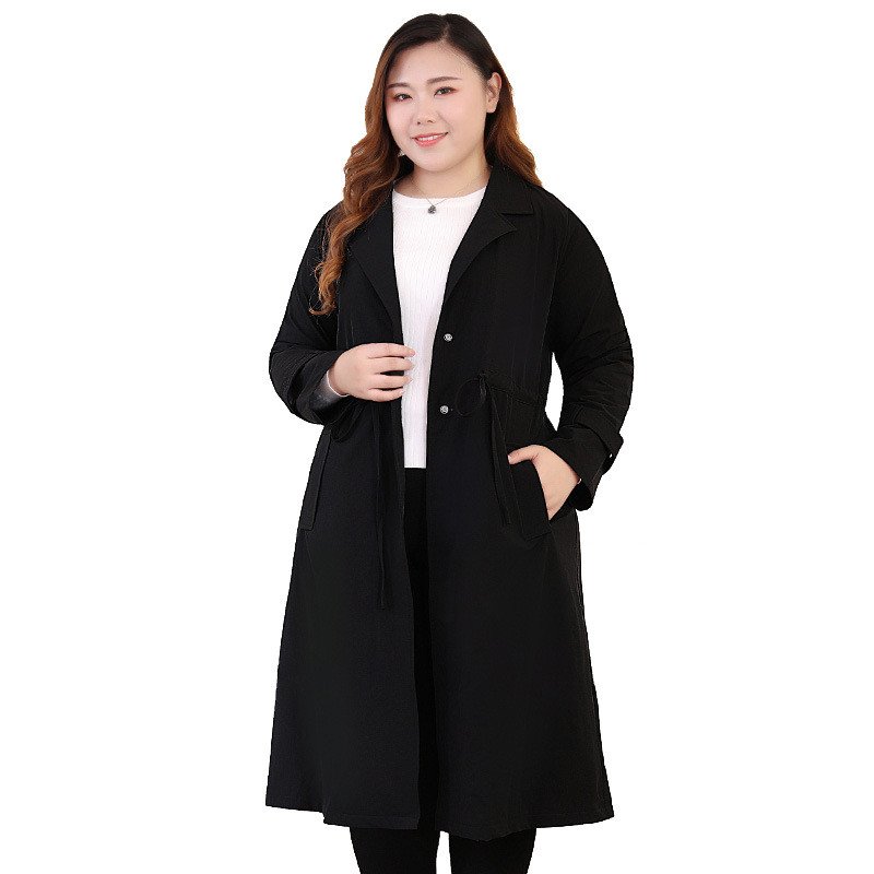 Spring Autumn   Trench   Coat For Women Oversize Elegant Lady Windbreaker Black Plus Size 6XL 8XL 10XL 140KG Long Coat Casual