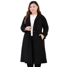 Spring Autumn Trench Coat For Women Oversize Elegant Lady Windbreaker Black Plus