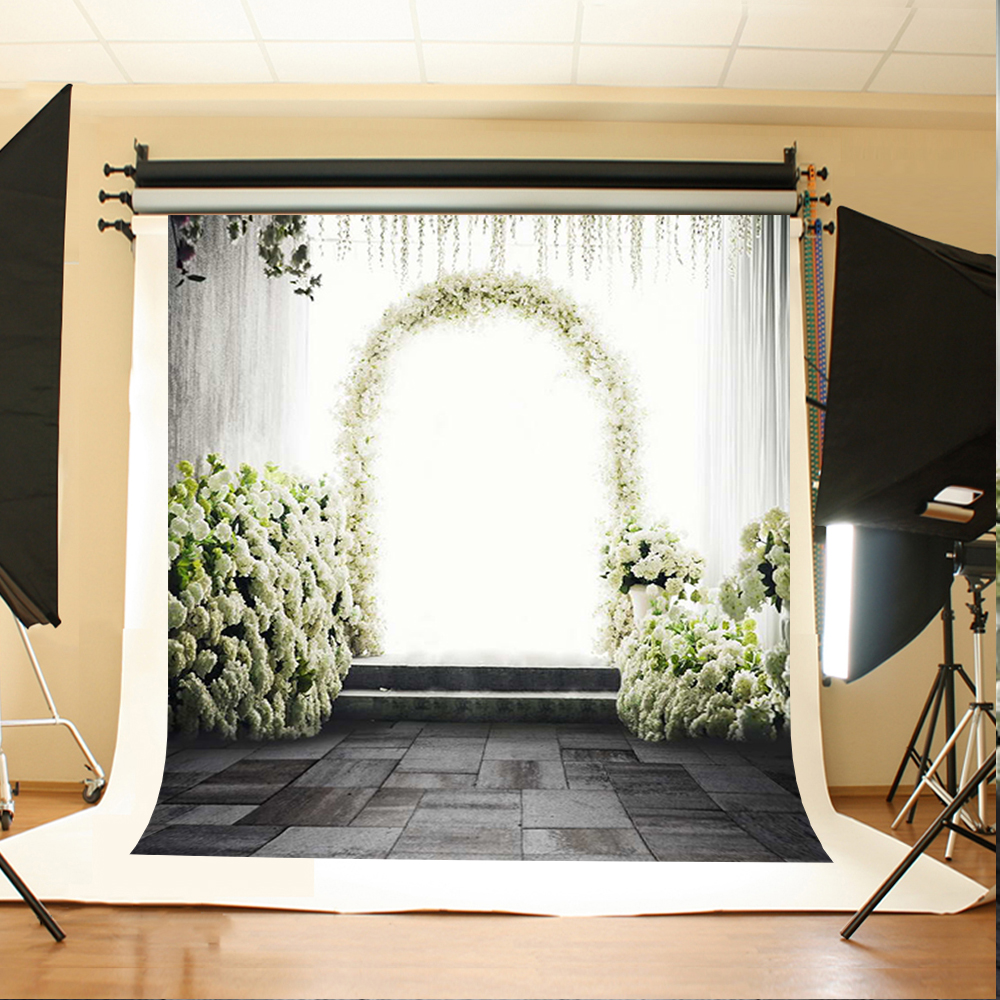 Wedding Photo Background White Flowers Green Leaves Computer Printing Backdrops Black Wood Floor Backgrounds for Photography e mu cd rom