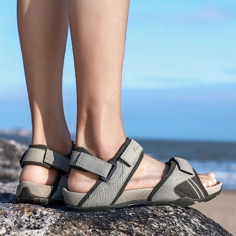 Fashion Trendy Sandals Beach Canvas Sandals Light Weight Non-slip Men Casual Shoes Flats Soft Flip F