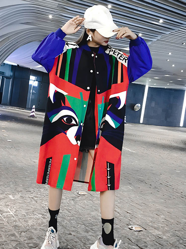 Fall 2019 Trend Girls Clothes Fashion Printed Coat Long Wide-waisted Hip Hop British Style Edgy Hipster Mandarin Collar
