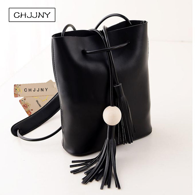 ФОТО CHJJNY korean newest style vintage women genuine leather customized simple hand bags with tassel and wood ball