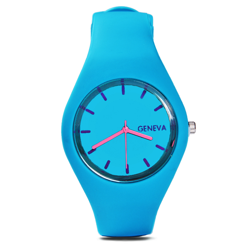 Geneva new fashion women sports watch silicone candy colored men's casual watches quartz watches 12 color relogio feminino A0130 new fashion unisex women wristwatch quartz watch sports casual silicone reloj gifts relogio feminino clock digital watch orange