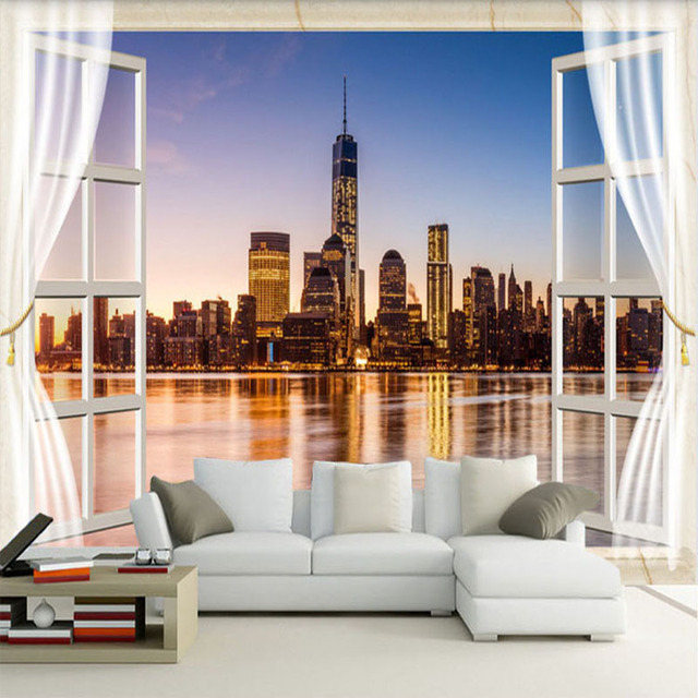 Photo Wallpaper Latest Outside The Window New York City Night Landscape 3D Wall  Mural Restaurant Living Part 84