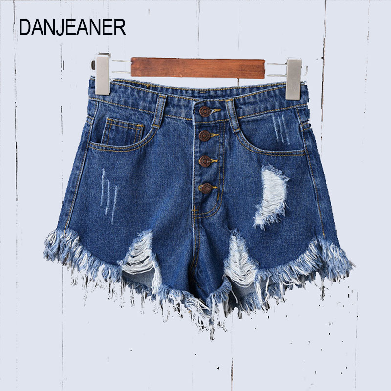 DANJEANER European And American BF Summer Wind Female High Waist Denim Shorts Women Worn Loose Burr Hole Jeans Shorts Plus Size