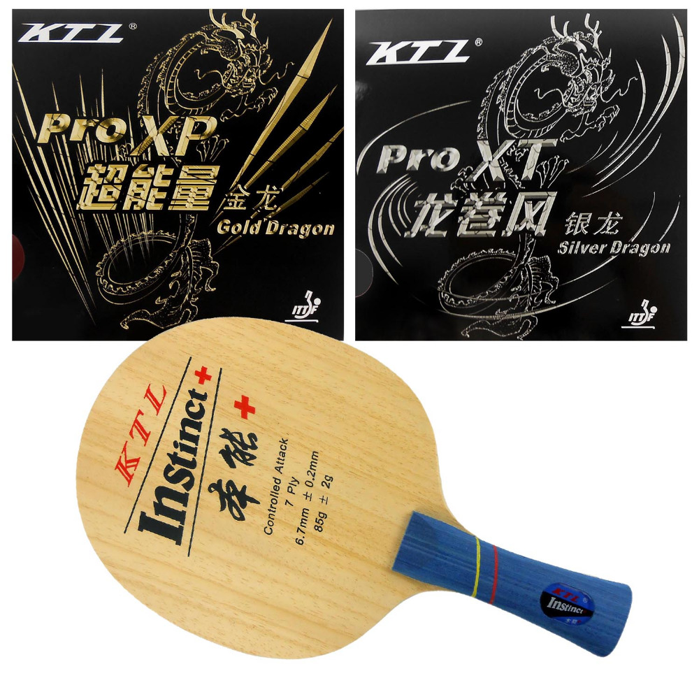 Pro Combo Paddle / Racket: KTL instinct+ (Shakehand) + Gold Dragon / Silver Dragon shakehand Long Handle FL