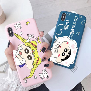 Funny Sailor Moon Crayon Shin-chan phone case For coque iPhone 8 7 6 6S Plus  Kawaii Anime Phone Case For iphone XS X XR cover