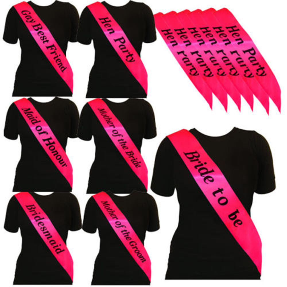 BRAND NEW PINK with HOT PINK HEN PARTY SASHES HEN NIGHT PARTY DO ACCESSORIES