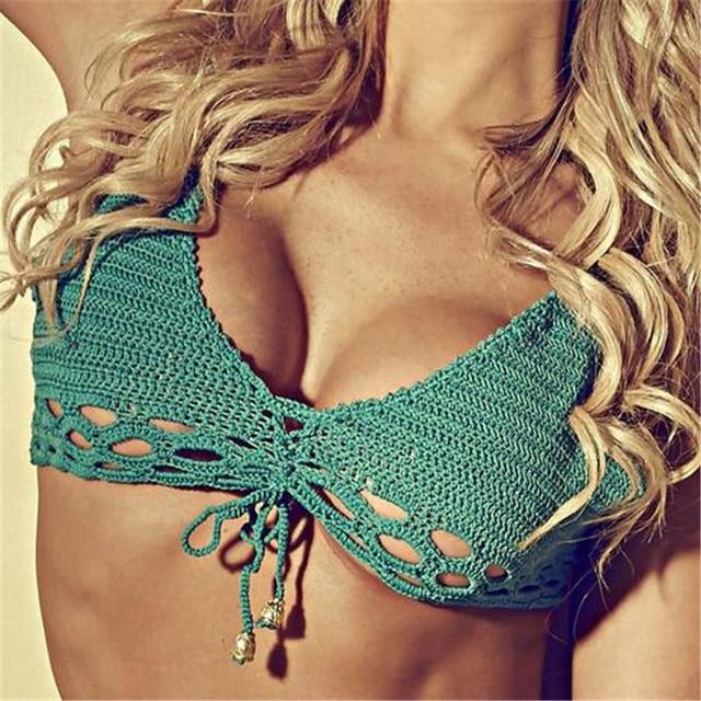 2017 Новый Высокой Талией Ручной Крючком Бикини Hollow Купальники Женщины Сексуальная Трикотажные Купальник Купальный Костюм Biquini Одежда для Пляжа
