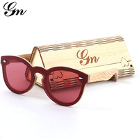 G M Natural Material Bamboo Wood Round Frame Wind Mirror A Variety Of Color Sunglasses