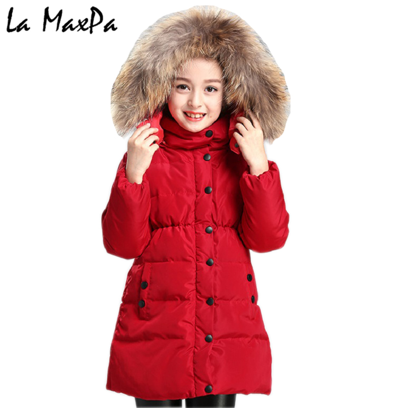 Winter Jacket Girl Coat Purple Cute Hooded Colored Fur Collar Kids 4 5 6 7 8 9 10 11 Years Child Clothes Thick Long Outerwear girl long korean tide thick warm down jacket winter for size 6 7 8 9 10 11 12 13 14 years child new black blue green outerwear