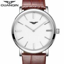 relogio masculino Simple Men Watches GUANQIN Men's Fashion Ultra Thin Quartz Watch Male Sport Leather Wristwatch montre homme