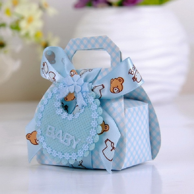 Bear Shape DIY Gift Christening Baby Shower Party Favor Boxes Paper Candy  Box With Bib Tags