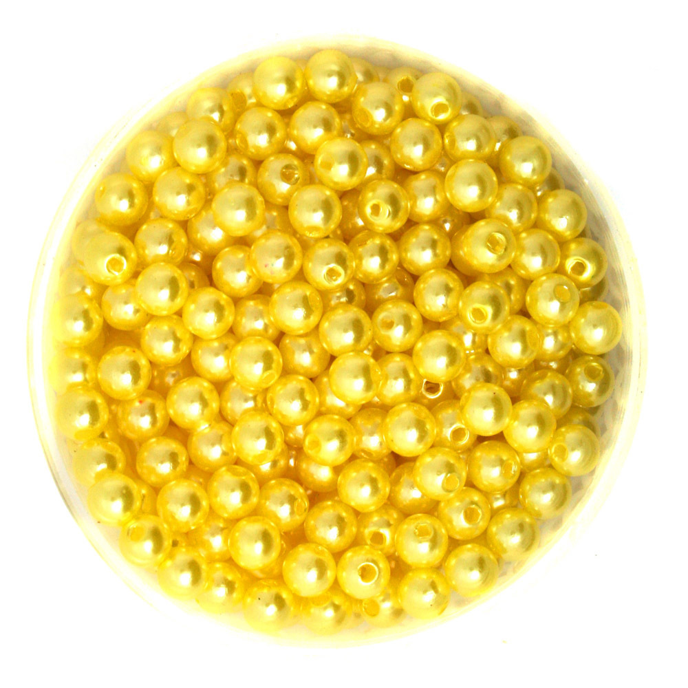 Round Approx 1000pcs/lot Yellow Color 6mm Dia. Imitation Pearl Plastic Beads Wholesale for Jewelry Making CN-BSG01-02YL
