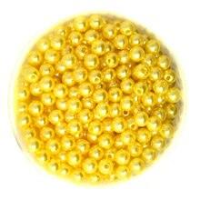 Round Aproximadamente 1000 pçs/lote Cor Amarela 6mm de Diâmetro. imitação de Pérolas Contas De Plástico Grosso para Fazer Jóias CN-BSG01-02YL