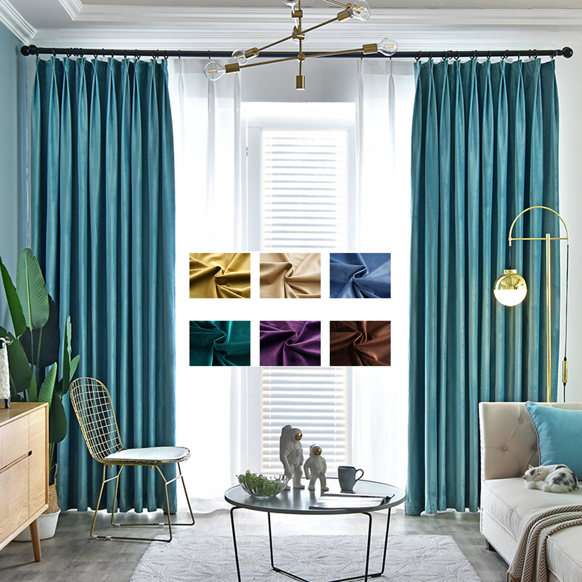 Velvet Curtains Drape Blackout Tulle Bedroom Window Living-Room Brown Blue Yellow Green