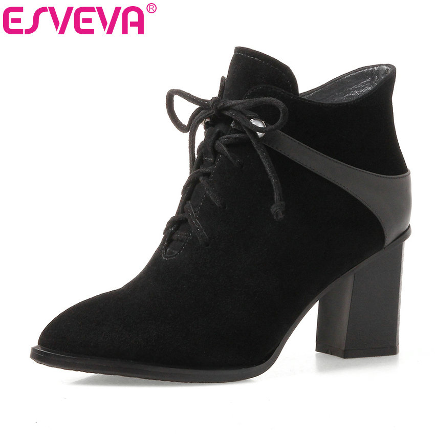 ESVEVA 2018 Western style Fashion Boots solid kid suede +PU Pointed toe Party Shoes Square high heel sexy Ankle boots Size 34-42 fashion pointed toe lace up mens shoes western cowboy boots big yards 46 metal decoration