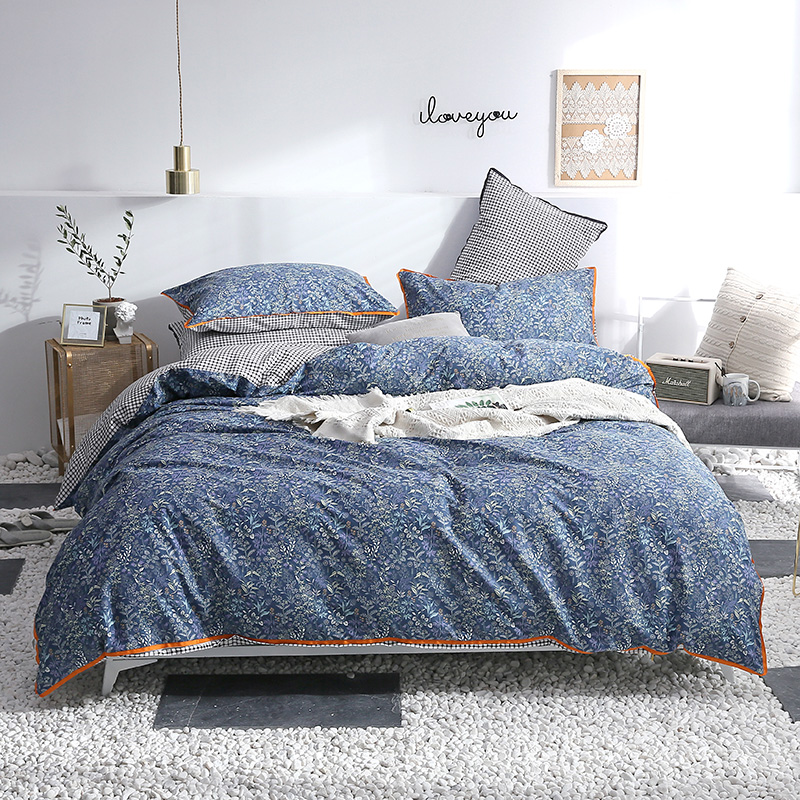 Modern Blue Small Print Bedding Sets Luxury Bed Linenple 3/4Pcs Bedding Set Winter Full King Queen Without ComforterModern Blue Small Print Bedding Sets Luxury Bed Linenple 3/4Pcs Bedding Set Winter Full King Queen Without Comforter