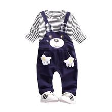 2019 New Spring Baby Girls Boys Clothes Suits Children Cotton Cartoon Animal T Shirt Jeans 2Pcs/Sets Casual Infant Kids Costume 2017 spring children s girls 2 clothing sets jeans suits for kids girl costumes red striped cotton t shirt jeans dress clothes