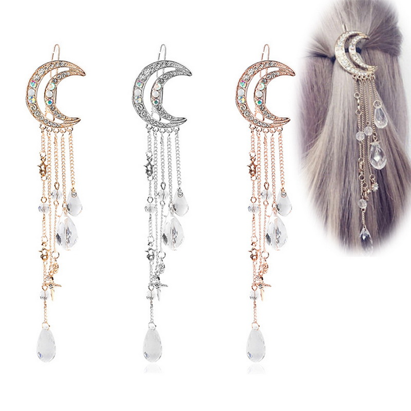 2019 Fashion Women Clip Moon Rhinestone Crystal Pendant Pin Tassel Long Chain Beads Drop Hairpin Ladies Hairclip Hair Jewelry(China)