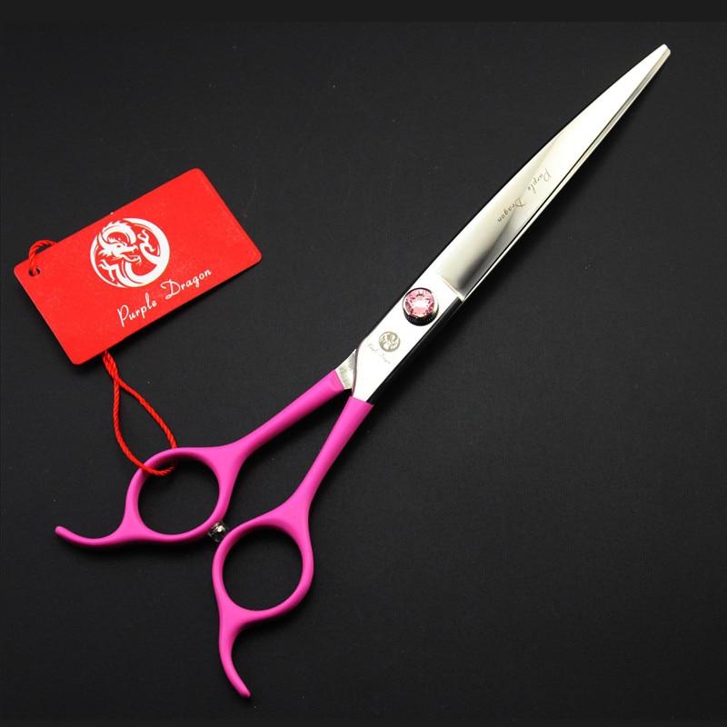7.5  Pink Rubber Handle Pet Scissors Downward Curved Dog Grooming Scissors Dog Hair Scissors Cat Groomer Hair Clipper portable scissors style pet s dog cat feces clip pink