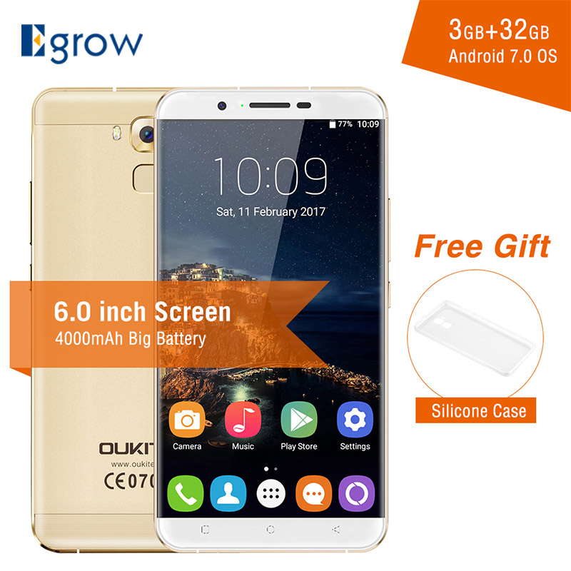 Oukitel U16 Max mtk6753 восьмиядерный смартфон Android 7.0 6.0 дюймов 3G Оперативная память 32 г Встроенная память мобильного телефона 4000 мАч отпечатков пальц...