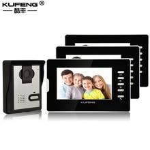 New 7 Inch Wired Video Door Intercom Doorbell Home Security Camera Monitor Night Vision Remote Unlock 1v3 Black Free Shipping