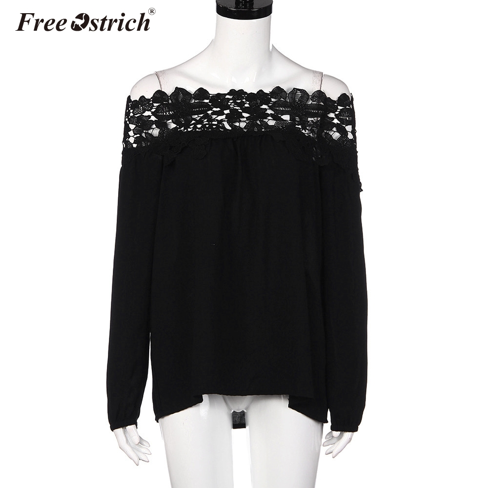 Women's Clothing Industrious Free Ostrich Blusas 2019 Spring Sexy Women Summer Blouses Off Shoulder Lace Crochet Shirts Long Sleeve Casual Tops Blouse C2635 Sale Overall Discount 50-70%