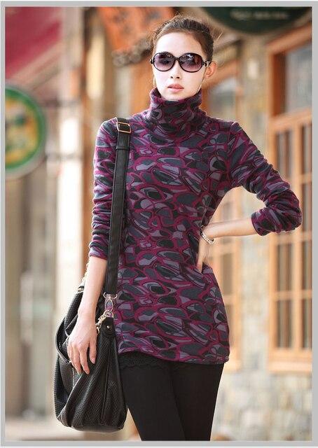 Woman winter casual plus size Leopard Turtleneck plus velvet thicken sweaters women autumn hedging stretch warm sweater