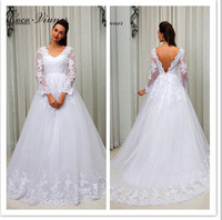 C V Sexy V Neck Long Sleeve Lace Embroidery Beaded Wedding Dress White Ivory Color Custom