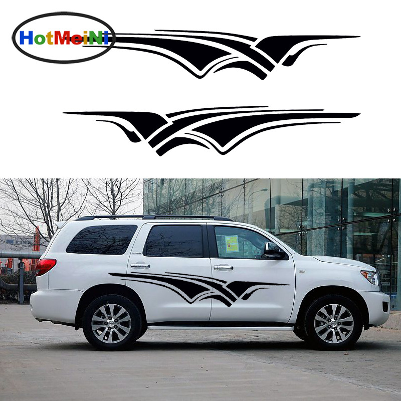 HotMeiNi 2 X Spectacular Stretch Stripes Decorate Living Art Car Stickers for Camper Van RV SUV Truck Kayak Vinyl Decal 9 Colors horse riding sticker for car rear windshield truck suv bumper auto door laptop kayak canoe art wall die cut vinyl decal 8 colors