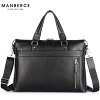 New Fashion Genuine Leather Famous Brand men briefcase, 15.6 inch commercial laptop briefcase, cross body shoulder bag