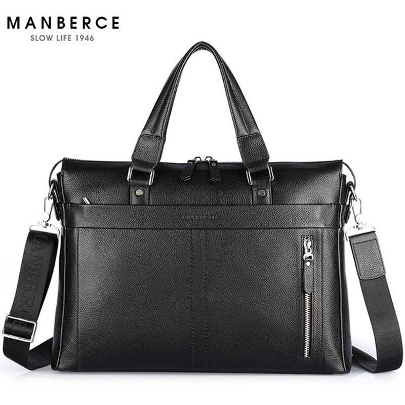 Nouvelle mode en cuir véritable célèbre marque hommes mallette, 15.6 pouces sacoche pour ordinateur portable commercial, sac à bandoulière bandoulière
