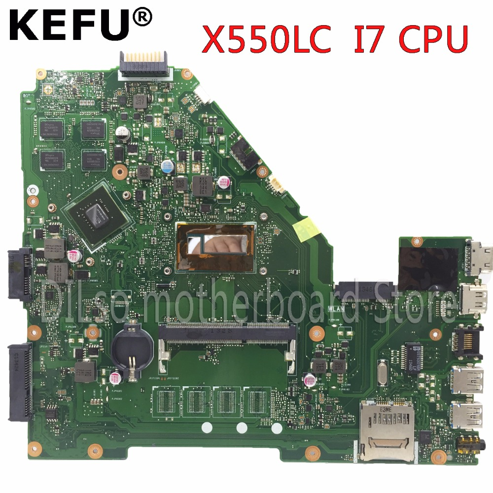 KEFU X550LC motherboard for ASUS X550LC X550lb A550LB A550LC X550LN laptop motherboard I7 CPU original tested mainboard in stock