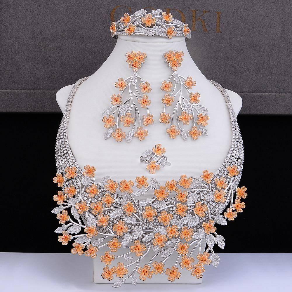 GODKI Big Luxury Plum blossom African Cubic Zircon CZ Nigerian Jewelry sets For Women Wedding Indian Beads Bridal Jewelry Sets-in Jewelry Sets from Jewelry & Accessories