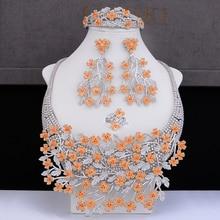 GODKI Big Luxury Plum blossom African Cubic Zircon CZ Nigerian Jewelry sets For Women Wedding Indian Beads Bridal Jewelry Sets