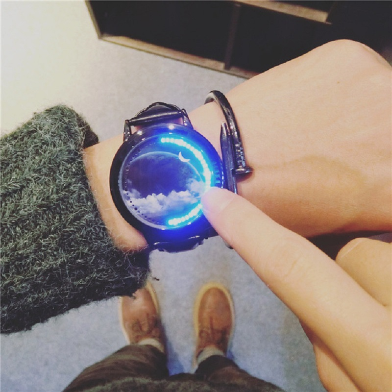 Creative personality Sky star leather normal LED watches women couple men electronics wristwatches casual students clock