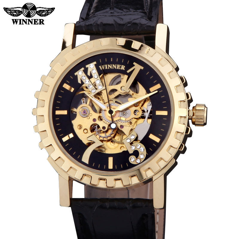 2016 watches men luxury brand winner military sports skeleton automatic mechanical wristwatches leather strap relogio masculino winner women luxury brand skeleton genuine leather strap ladies watch automatic mechanical wristwatches gift box relogio releges