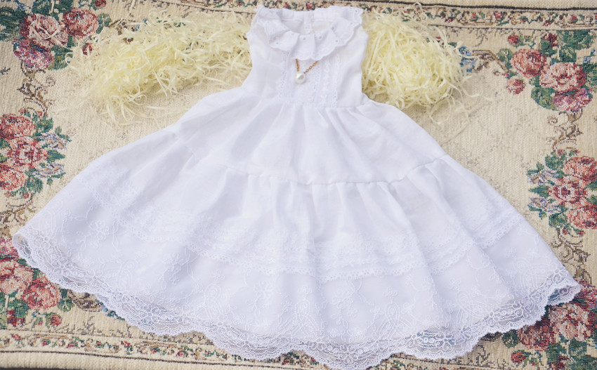 Pure White Lace Dress For BJD Doll 1/4 1/3 SD16 DD DY LUTS DOD AS Doll Clothes CWB20-1 bjd bb black high leather boots for 1 6 yosd super dollfie luts dod as dz doll shoes sb16