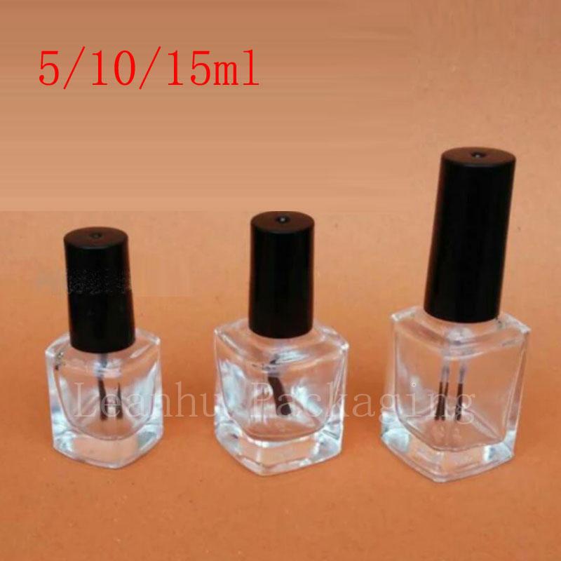 5ml 10ml 15ml Empty Transpa Gl Nail Polish Bottles Brush Lid Small Bottle For Art Essential Oil Container In Refillable From