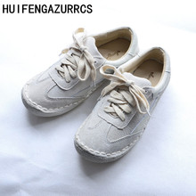 HUIFENGAZURRCS-Spring and autumn Retro Genuine Leather  female shoes,Handmade art leisure soft flat students shoes,Size 6