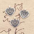 50 шт., подвески с милым сердечком 16x14 мм, античный бронзовый, серебристый цвет, Подвески ручной работы, тибетская бронзовая бижутерия
