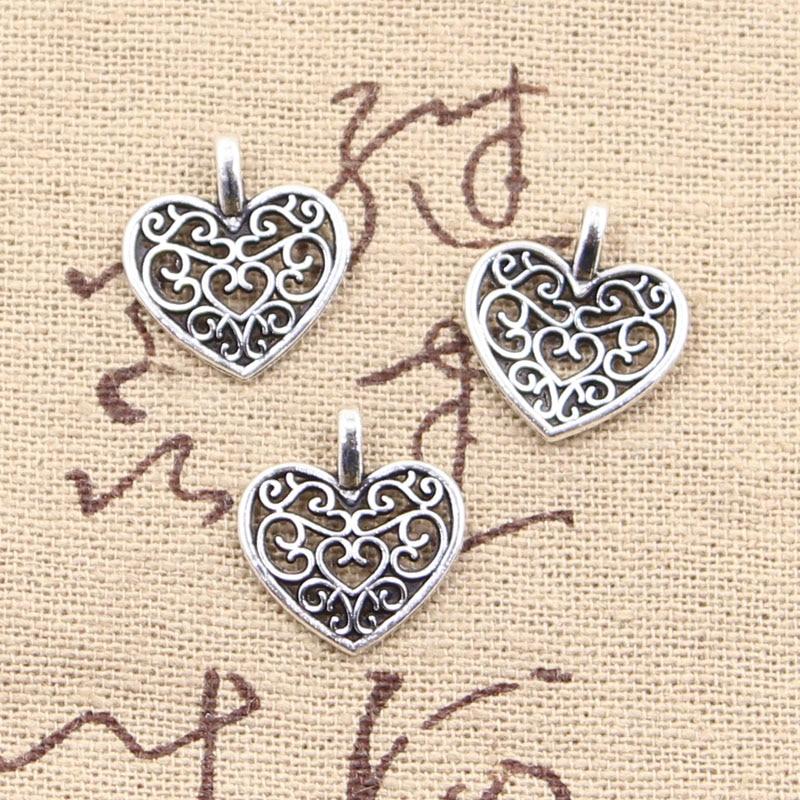 50pcs Charms Hollow Lovely Heart 16x14mm Antique Bronze Silver Color Pendants Making DIY Handmade Tibetan Bronze Jewelry