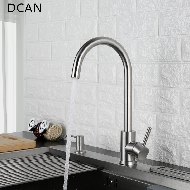 DCAN Tap Kitchen Faucet 360 Degree Swivel Stainless Steel Kitchen Sink Faucet Single Handle Hot and Cold Mixer Sink Faucet xoxohigh quality total 304 stainless steel no lead kitchen sink faucet sink tap 360 swivel mixer kitchen faucet 83026
