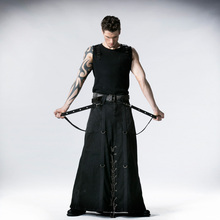 Vintage Man Punk Heavy Metal Long Skirt Steampunk Fashion Black Denim Thick Long Pants with Iron Chain
