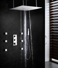 Auto – termostato de Control de lluvia baño ducha mezclador Set Ceil montado dos funciones Swash y ducha de lluvia